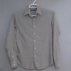 Theory Black & White Gingham Check Shirt Size S